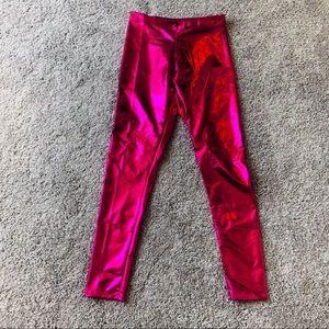 NWOT Hot Pink Metallic Leggings Rave Club Wear